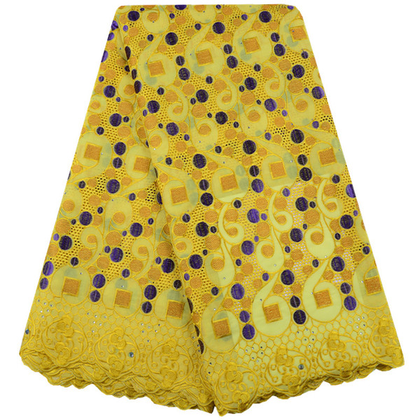 Yellow Nigerian African Lace Fabrics High Quality For Cotton Lace Fabric With Stones Swiss Voile Lace In Switzerland Y1514