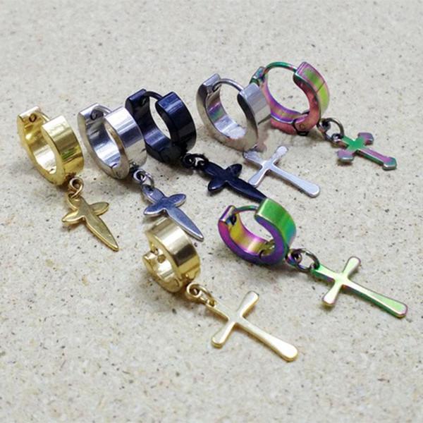 Les hommes coréens boucle boucles d'oreilles multicolores Titane croix boucles d'oreilles bijoux manchette d'oreille Dangle Chandelier goutte d'oreille pas cher 170151