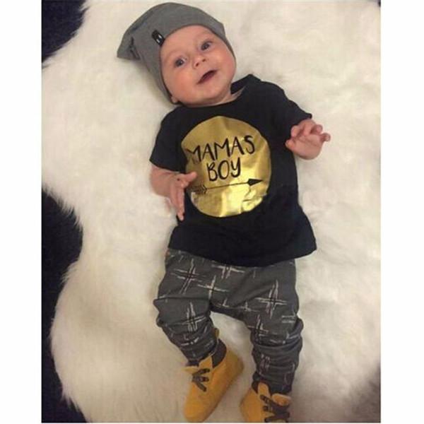 2PCS Kids Boys Clothes Boys Sets Infant Toddler Kids Baby Boys Letter Printed Short Sleeve T-shirt Tops+Long Pants Set JY26#F