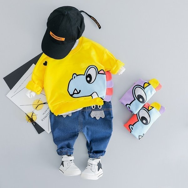 New Hot Toddler Children Clothes Suits 2019 Spring Baby Girls Boys Clothing Cartoon Kids T Shirt Jeans 2Pcs/Sets Infant Costume
