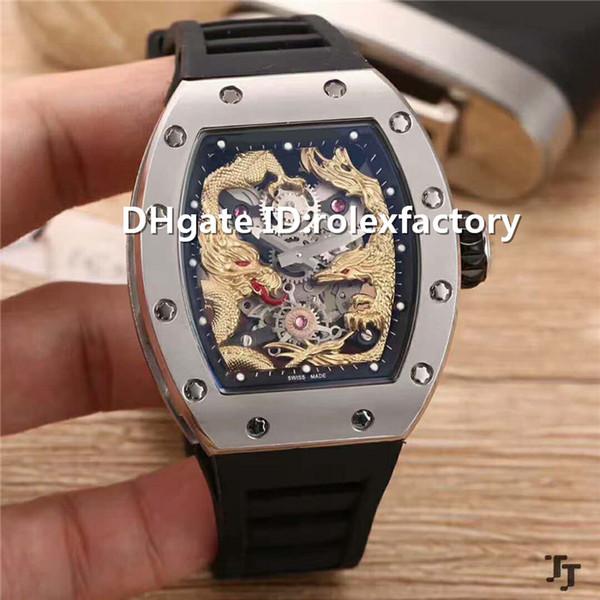 Top Luxury 57-01 Watch Tourbillon Automatic Sapphire Titanium Carbon 904L Stainless Steel Case Rubber strap transparent case back Mens Watch
