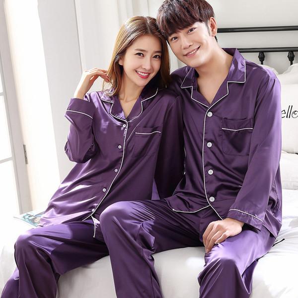 Pijamas de cetim de seda para mulheres Homens Pijamas de manga comprida Pijamas Terno Roupas para casa Roupas dele-e-dela Pijamas