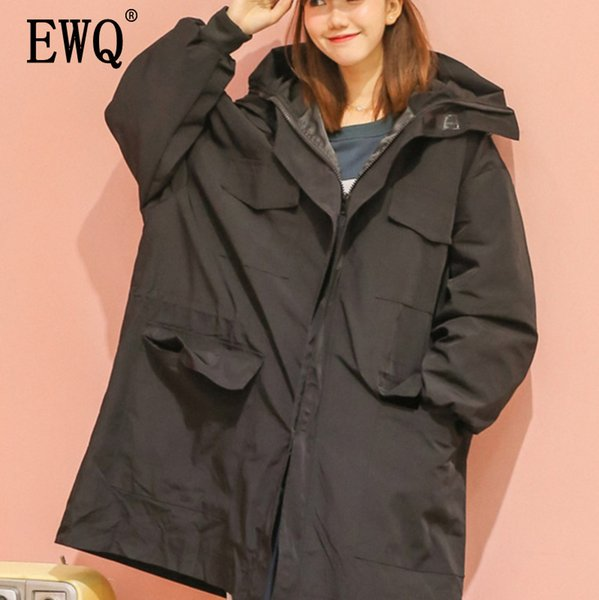 [EWQ] 2019 New Woman Hooded Collar Batwing Sleeve Pockets Zippers Loose Hem Big Size Windbreaker Coat Women Clothing BD399