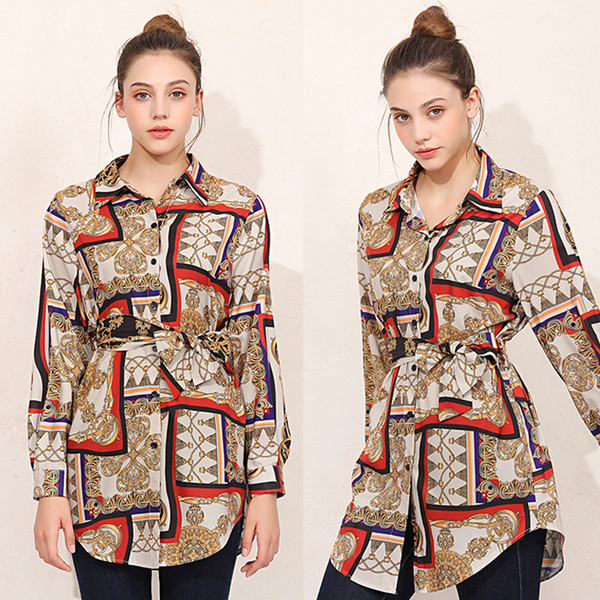 Женская весна осень блузки с принтом отворотом рубашки с длинным рукавом с нестандартной дизайнерской рубашкой