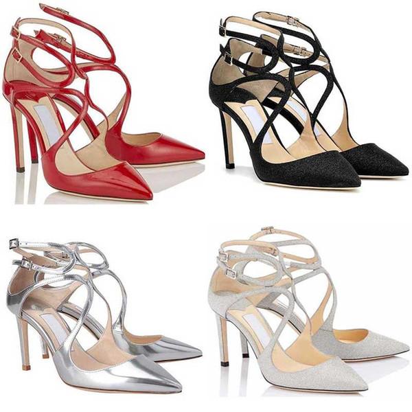 2019 женских девушка дизайнер высоких каблуков LANCER Fashion Luxury 8 10 12 CM платье офис партия Свадебного Кристалл обувь размер 36-42