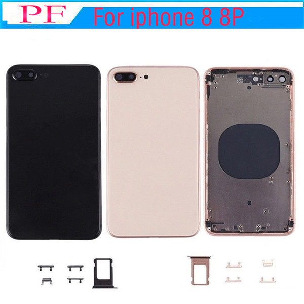 2pcs OEM Quality For iPhone 8 8 PLUS Full Housing Battery Back Cover Replacement with Frame Back Glass with dhl Free Shipping