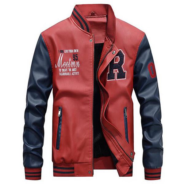 Hot Sale Jacket Men Embroidery Jackets Pu Faux Leather Coats Slim Zipper College Fleece Pilot Leather Jackets