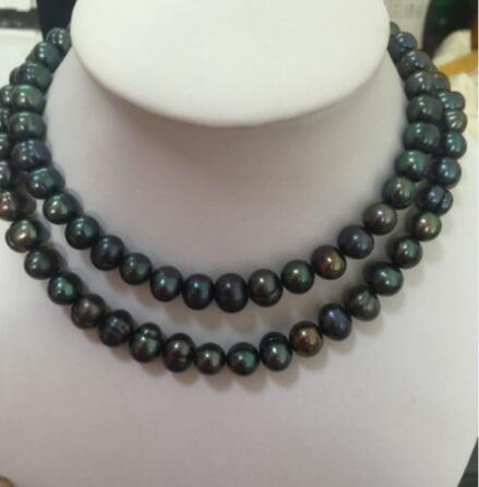 necklace Free shipping ++double strands 12-11mm baroque tahitian black green pearl necklace NEW