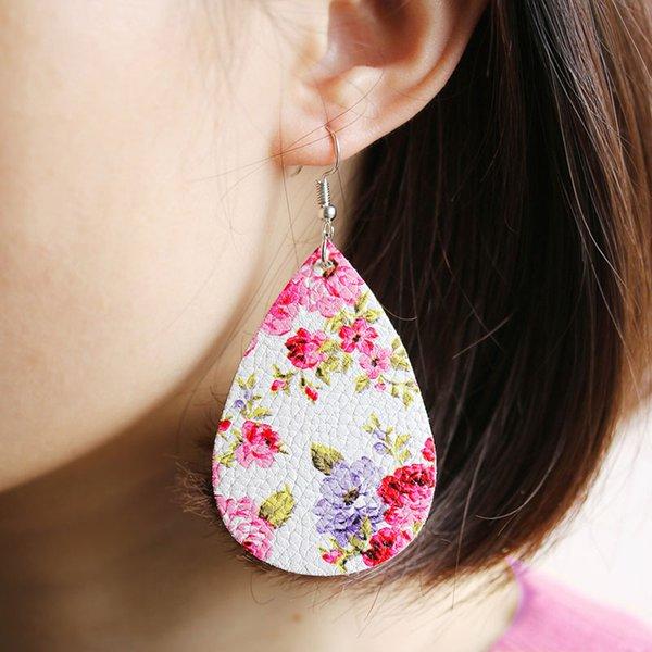 Nouveau PU Boucles D'oreilles En Cuir De Mode Fleur Imprimer Waterdrop Dangle Boucles D'oreilles pour les Femmes Fille Jewery Livraison Gratuite