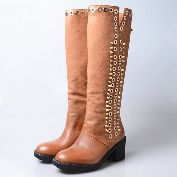 828ea6ebb070a Top Quality Handmade Women Knee High Boots Rivets Round Toe Chunky Heel  Knight Boots Females Metal Ring Side Zipper Cow Leather Long Boots Cheap  Boots ...