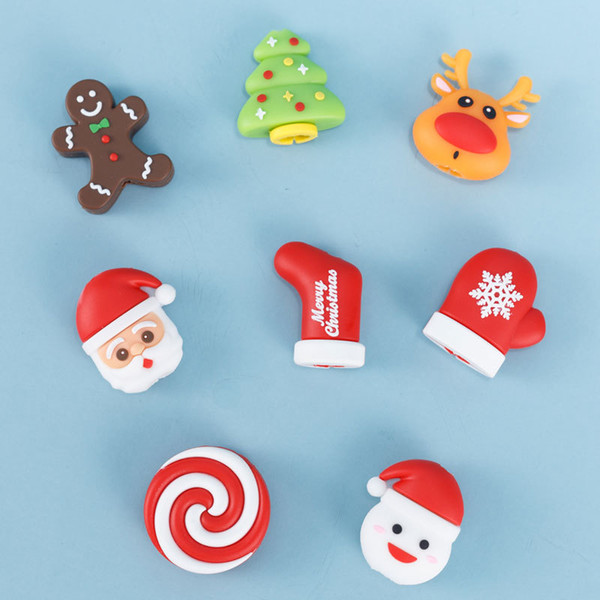 Data line protection set Christmas deer bite shape anti-breaking creative Q version stereo doll silicone cable bites