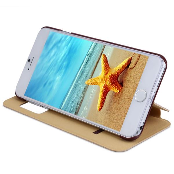 Baseus simples série janela inteligente aleta pu couro stand case pele para iphone 6 plus / 6s mais