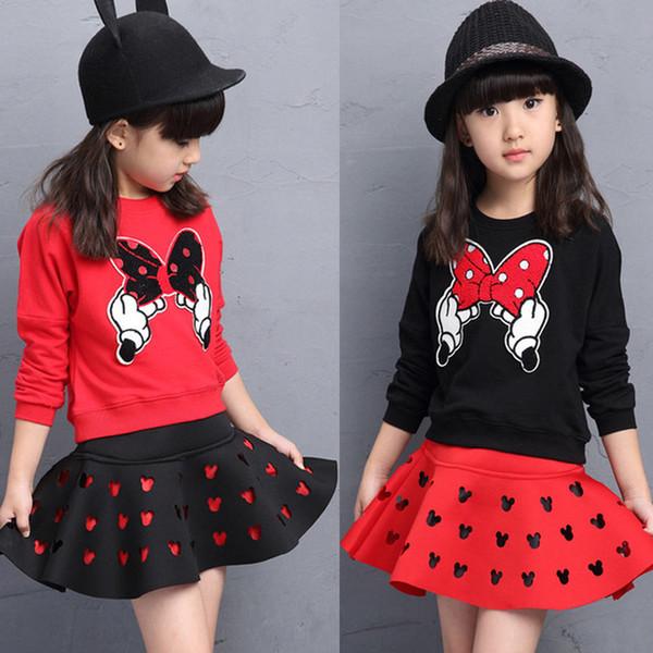 Primavera Meninas outono Saia Set O pescoço dos desenhos animados camisola 2pcs roupa dos miúdos para a menina 2019 New Casual Roupa das Crianças Set