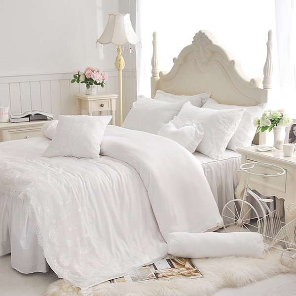 Tencel cotton Korean Princess lace 3/4pcs bedding sets, duvet cover bed skirt pillowcase set girl kids white bedsheet