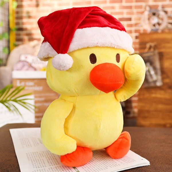 2019 Year Funny Dancing Little Yellow Duck Plush Toy Christmas Hat Pillow Gifts personalized christmas gift yellow new year gift