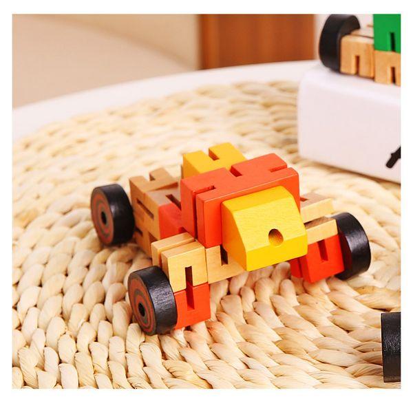 Multi-functional four-color wood auto man wood three-dimensional deformation robot wood children's puzzle toys wholesale PVC boxes