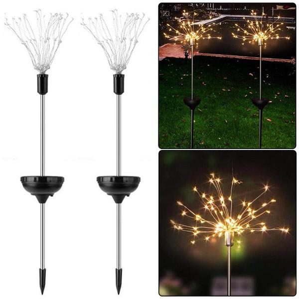 Luces de fuegos artificiales solares Luz de vacaciones Novedad Cadena LED 8 Modos de iluminación Iluminación de jardín exterior impermeable Lámpara de césped