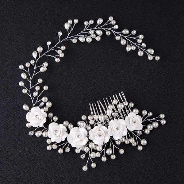 Luxe main strass Bandeau cheveux de mariée mariage Accessoires fleur de cristal imitation de perles Peigne / Pin pour les femmes fille