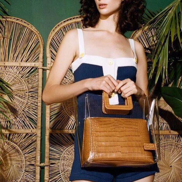 2019 New Designer Brand Summer Beach Pvc Transparent Big Totes Women Clear Bag Composite Bag Female Alligator Handbag Bolsa 114