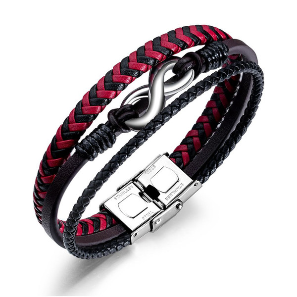 1be880b3a2d042 Black red infinity 8 word hand-woven leather bracelet charm men's titanium  steel bracelet holiday
