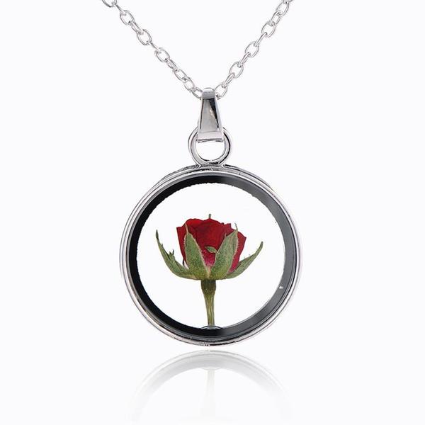 Collar de cristal clásico del frasco Colgantes del collar Prince Rose Cristal retro Natural Collar de flores de rosa seca para la familia de mamá