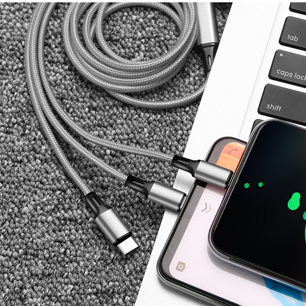 top popular High Quality 3 In 1 Micro USB Type C Charger Cable 2.4A Multi Usb Port Multiple Usb Fast Charging Cable Usbc Mobile Phone Cables For Samsung 2021