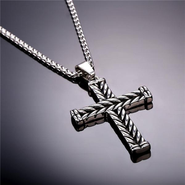 New Cross della collana di modo dell'annata degli uomini due lati strisce croce pendente con catena Hiphop Roccia pendente regali gioielli