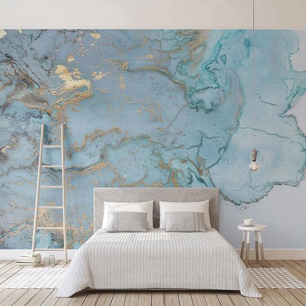 Salon Yatak odası Duvar Resmi Resim Resim Özel Kendinden yapışkanlı duvar kağıdı Kağıdı 3D Retro Mavi Bronzlaştırıcı Mermer Doku Duvar