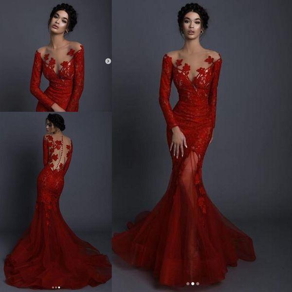 Kırmızı Dantel Aplike Çiçek Akşam Pageant Elbiseler ile Uzun Kollu 2020 Sheer O-Boyun Illusion Geri Trompet Durum Balo Elbise