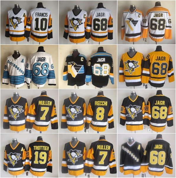 Pittsburgh 8 Mark Recchi Penguins Trikots Herren 7 Joe Mullen 10 Ron Francis 19 Bryan Trottier 68 Jaromir Jagr Vintage CCM Stitched Hockey