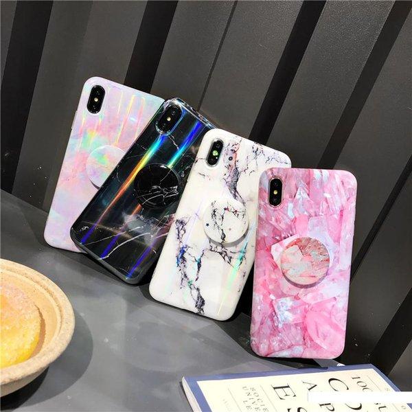 Nouveaux cas de téléphone de marbre de marbre pour l'iPhone XS Max XR X 8 7 6 Plus doux TPU Silicone cas de téléphone avec support