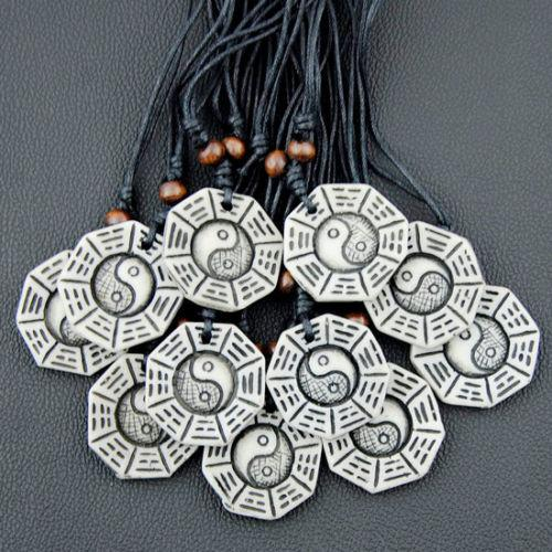Wholesale 12 pcs Cool men women's Taoism Tai Chi pendants necklaces Bagua charms for male female jewelry gift