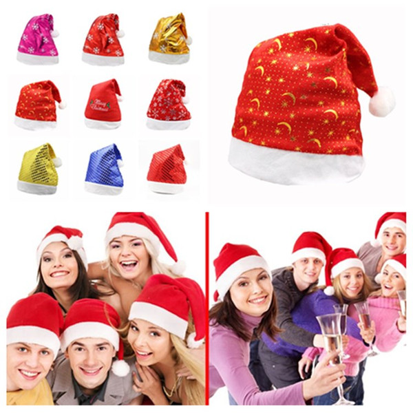 chaud adulte festival bonhomme de neige paillettes de wapitis Chapeau du Père Noël chapeaux décorations de Noël casquette tuques mode AccessoriesT2I5557