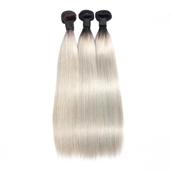 Benim kraliçe Perulu Düz İnsan Saç Dokuma ombre Gri Renk Gümüş Gri 100% Remy İnsan Saç Dokuma Uzantıları 1 ADET