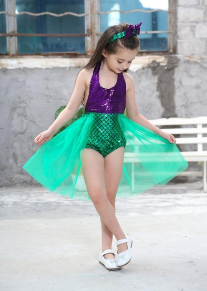2-10 Years Girls Mermaid Dress Little Ariel Mermaid Tail Cosplay Halloween Costume Little for Birthday Christmas Gift