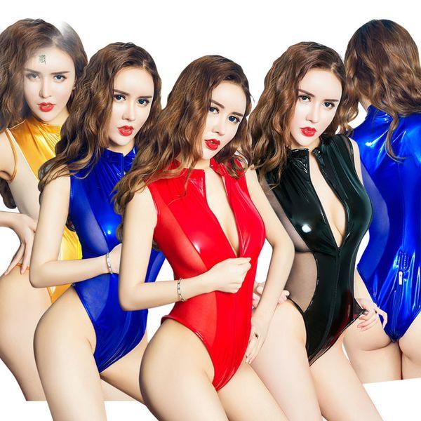 Double Way Zipper Ouvert PU Mesh Patchwork Body Femmes Haute Élastique Brillant PVC Transparent Maillots De Bain Ouvert Entrejambe Bodys