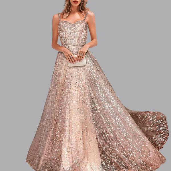 Mode Sexy Party robe de soirée flash Soiree sans manches Condole dîner robes or robe de bal abiye elbise robes de soirée abendkleider
