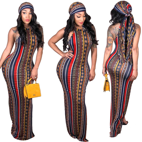 Fashion Sexy Stripe Printed Bohemian Dress with scarf 2019 Hot Sale Crew Neck Sleeves Sheath Floor Length Party Club Dress Real Photos