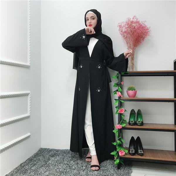 Ramadan Kaftan Black Abaya Kimono Muslim Hijab Dress Jilbab Caftan Marocain Turkish Islamic Clothing Abayas For Women Robe Femme