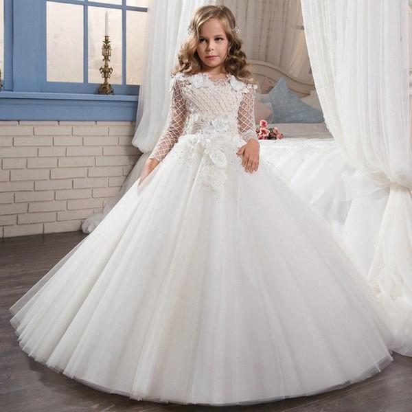 Elegant Dress For Kids Princess First Communion Dresses Flower Girl Dresses Kids Wedding Birthday Gown