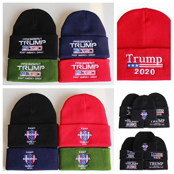 Трамп шапки 2020 Президент вязаные шапки Keep America Great Вышивка Зимние теплые лыжные шапки на открытом воздухе Вязание шапочки T2C5096