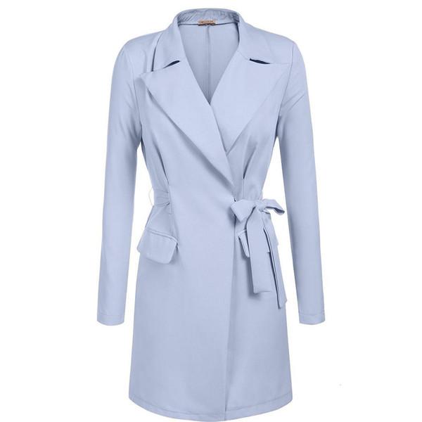 Abrigo de mujer con solapa abierta frontal con cinturón Casual Trench Coat w / Shoulder Acolchado Casual Office Pocket Solid Sleeve