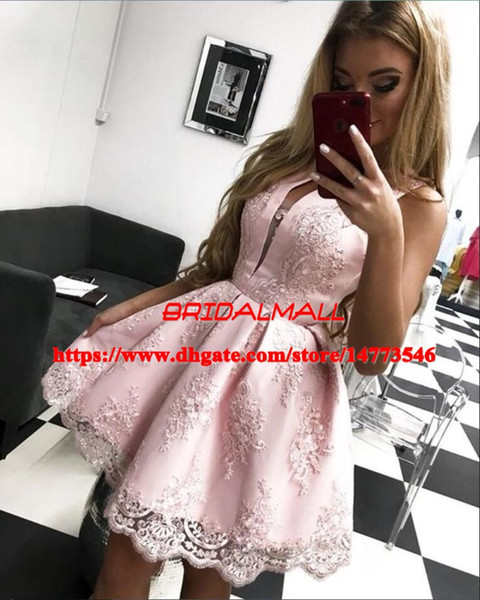 Simple 2019 Appliqued Lace Pink Homecoming Dresses Sweet 16 Short Prom Dress For Teens Cheap Mini Cocktail Party Gowns 8th Graduation Dress
