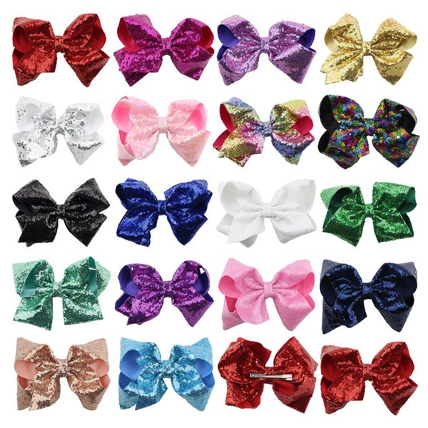 Baby Headwear Wholesale 8 Inch Large Children Sequins Bow Hairpin Foam Flower Hairdressing