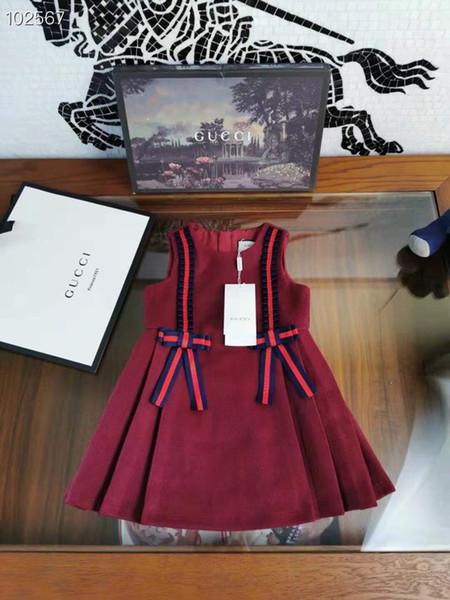 Vendita al dettaglio Grande ragazza principessa Bow veste per adolescenti senza maniche vestiti del bambino vestito di Natale inverno maglia di modo