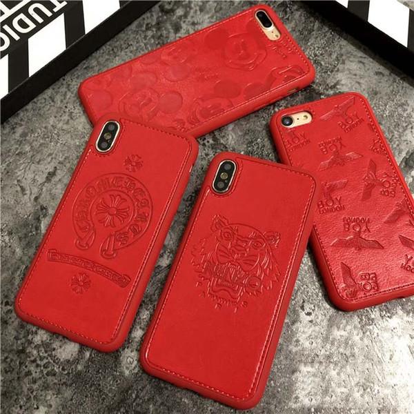 Capa de telefone de luxo para IphoneXSMAX XR XS / X 7P / 8P 7/8 Padrão Moda Couro Stamping Designer de protecção Marca Red tampa traseira Atacado