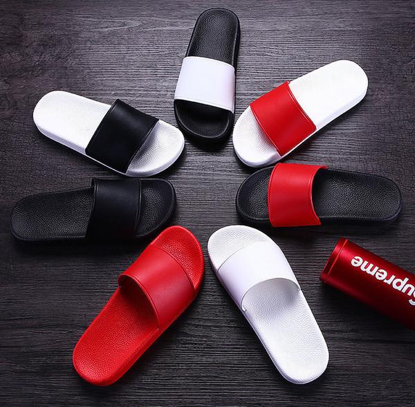 Toptan Sandalet Terlik erkekler kadınların Sandalet Tasarımcı Ayakkabı Lüks Moda Geniş Düz Kaygan Sandalet Terlik Flop Büyüklüğü 35-48 LL081 çevirin