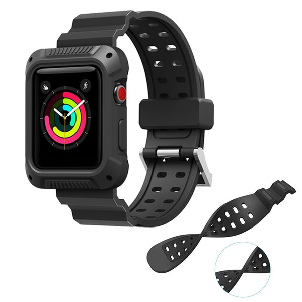 Soft TPU Dual Color Smart Straps iWatch Band For Apple Watch 38mm 40mm 42mm 44mm Sports Shatter-resistent Full Protective Case Frame Cover