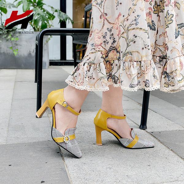 NAN JIU MOUNTAIN 2019 Frühjahr und Herbst High Heels Sandalen Classic Plaid Strass Mit Einzelnen Schuhen Damenschuhe 4 Farben