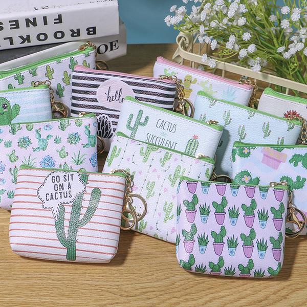 12 estilos Cactus moda crianças dos desenhos animados mulheres bonito PU coin purse key bag bolsa organizador estudante coin purse top quality